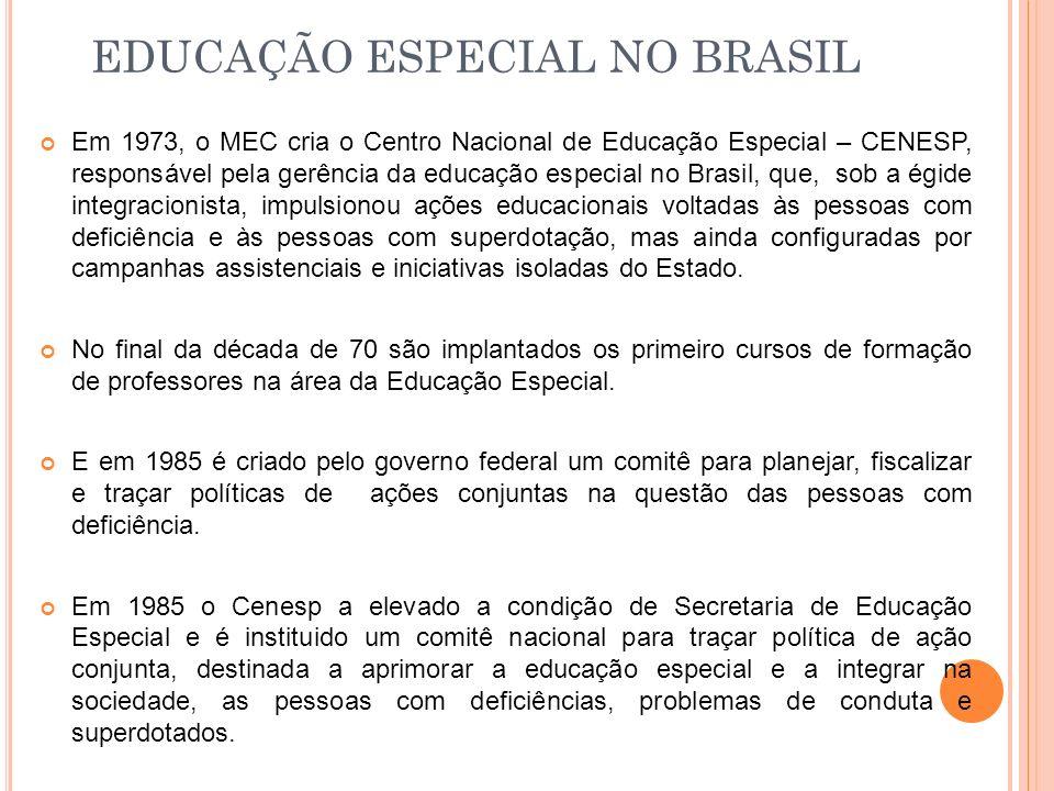EDUCAÇÃO ESPECIAL NO BRASIL Em 1973, o MEC cria o Centro Nacional de Educação Especial – CENESP, responsável pela gerência da educação especial no Bra