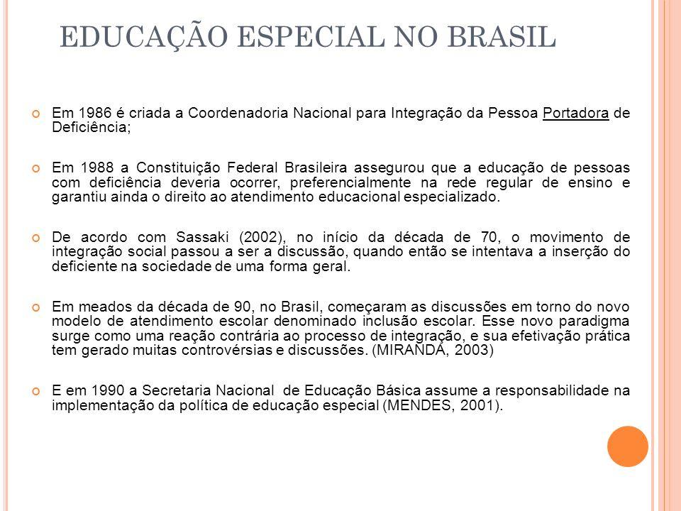 EDUCAÇÃO ESPECIAL NO BRASIL Em 1986 é criada a Coordenadoria Nacional para Integração da Pessoa Portadora de Deficiência; Em 1988 a Constituição Feder