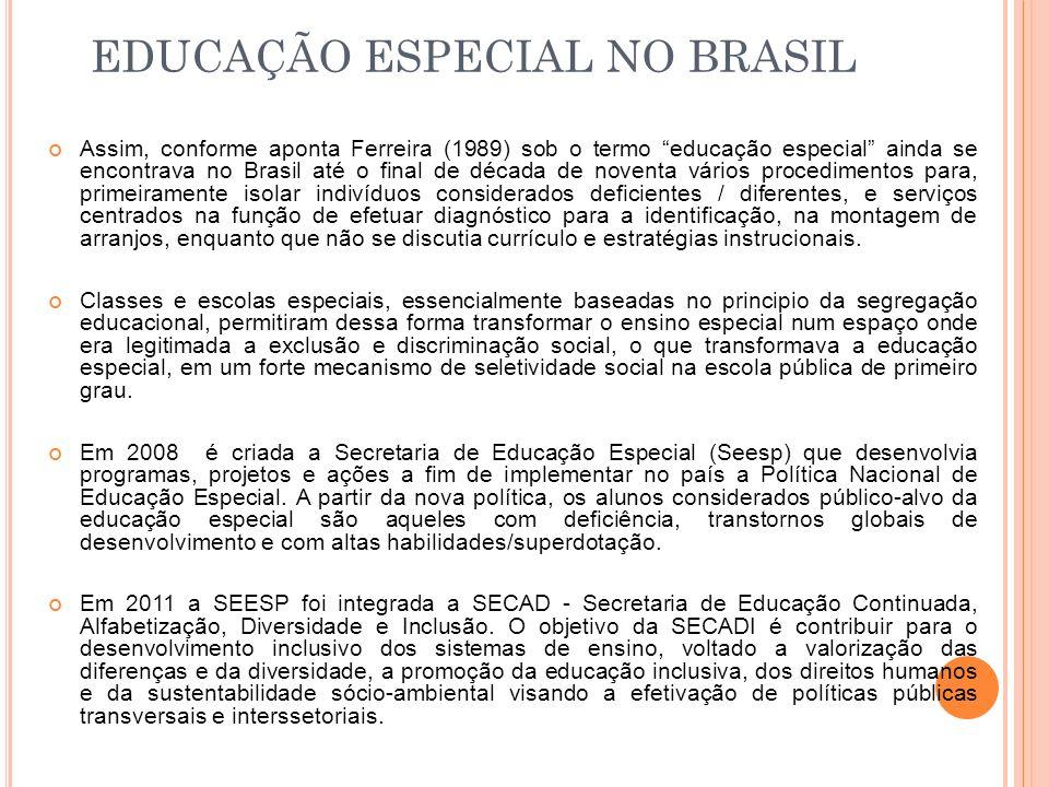 Assim, conforme aponta Ferreira (1989) sob o termo educação especial ainda se encontrava no Brasil até o final de década de noventa vários procediment