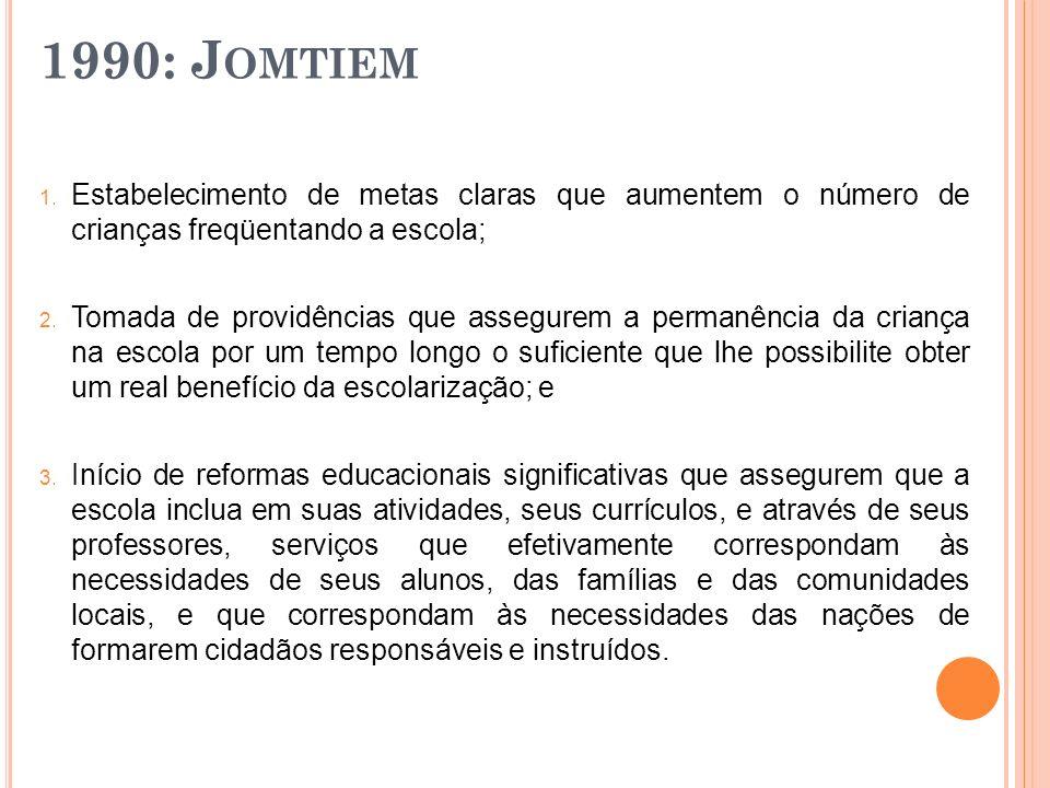 1990: J OMTIEM 1. Estabelecimento de metas claras que aumentem o número de crianças freqüentando a escola; 2. Tomada de providências que assegurem a p