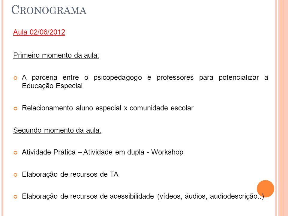 C RONOGRAMA Aula 02/06/2012 Primeiro momento da aula: A parceria entre o psicopedagogo e professores para potencializar a Educação Especial Relacionam