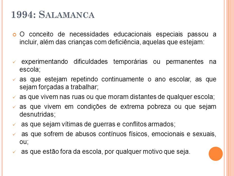 1994: S ALAMANCA O conceito de necessidades educacionais especiais passou a incluir, além das crianças com deficiência, aquelas que estejam: experimen