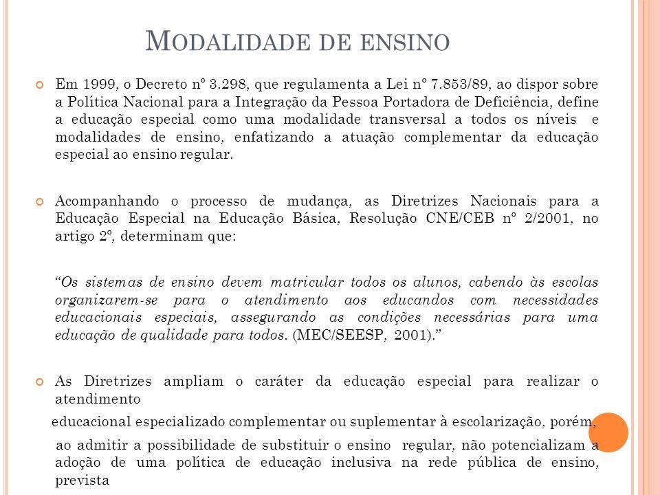 M ODALIDADE DE ENSINO Em 1999, o Decreto nº 3.298, que regulamenta a Lei nº 7.853/89, ao dispor sobre a Política Nacional para a Integração da Pessoa