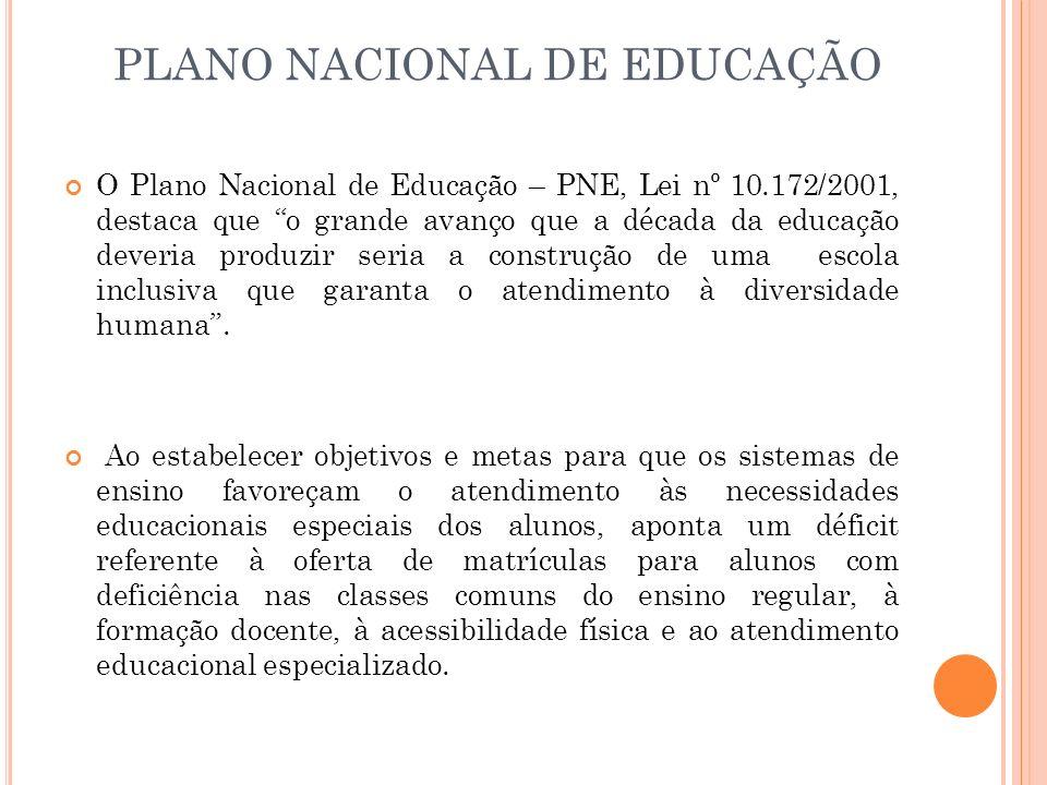 PLANO NACIONAL DE EDUCAÇÃO O Plano Nacional de Educação – PNE, Lei nº 10.172/2001, destaca que o grande avanço que a década da educação deveria produz
