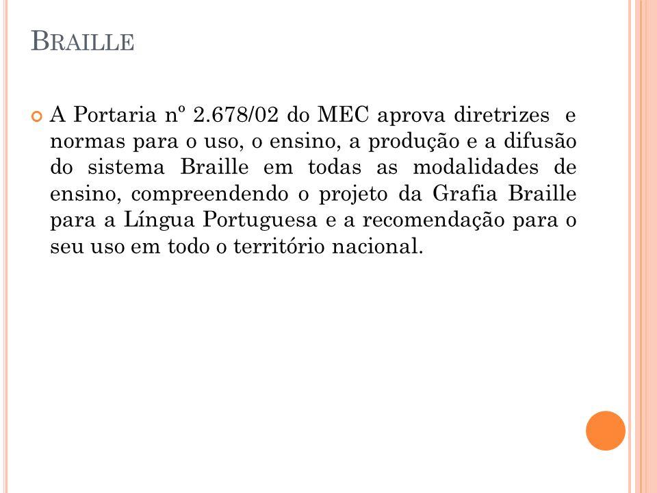 B RAILLE A Portaria nº 2.678/02 do MEC aprova diretrizes e normas para o uso, o ensino, a produção e a difusão do sistema Braille em todas as modalida