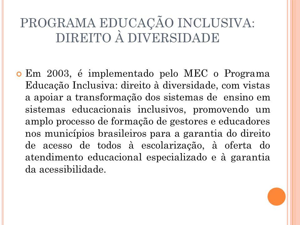 PROGRAMA EDUCAÇÃO INCLUSIVA: DIREITO À DIVERSIDADE Em 2003, é implementado pelo MEC o Programa Educação Inclusiva: direito à diversidade, com vistas a