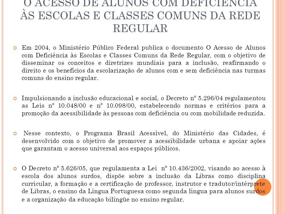 O ACESSO DE ALUNOS COM DEFICIÊNCIA ÀS ESCOLAS E CLASSES COMUNS DA REDE REGULAR Em 2004, o Ministério Público Federal publica o documento O Acesso de A