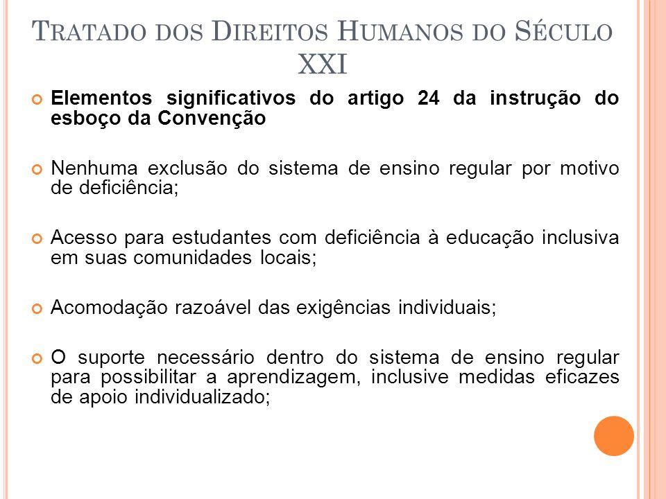 Elementos significativos do artigo 24 da instrução do esboço da Convenção Nenhuma exclusão do sistema de ensino regular por motivo de deficiência; Ace
