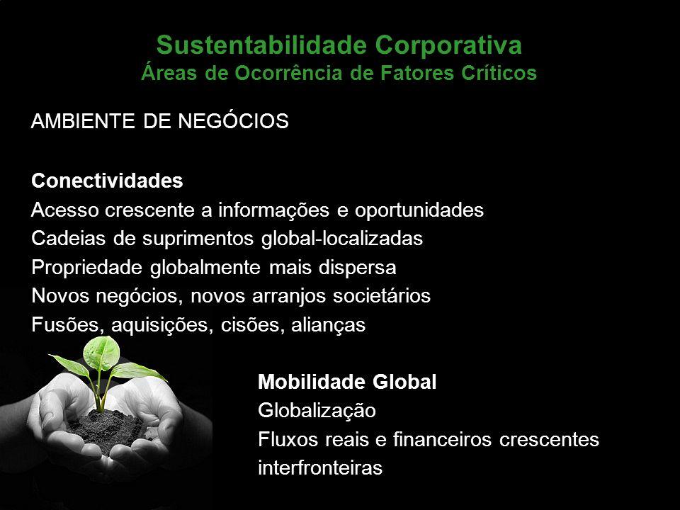 Marketing de Serviços Profa. Camila Krohling Colnago Sustentabilidade Corporativa Áreas de Ocorrência de Fatores Críticos AMBIENTE DE NEGÓCIOS Conecti