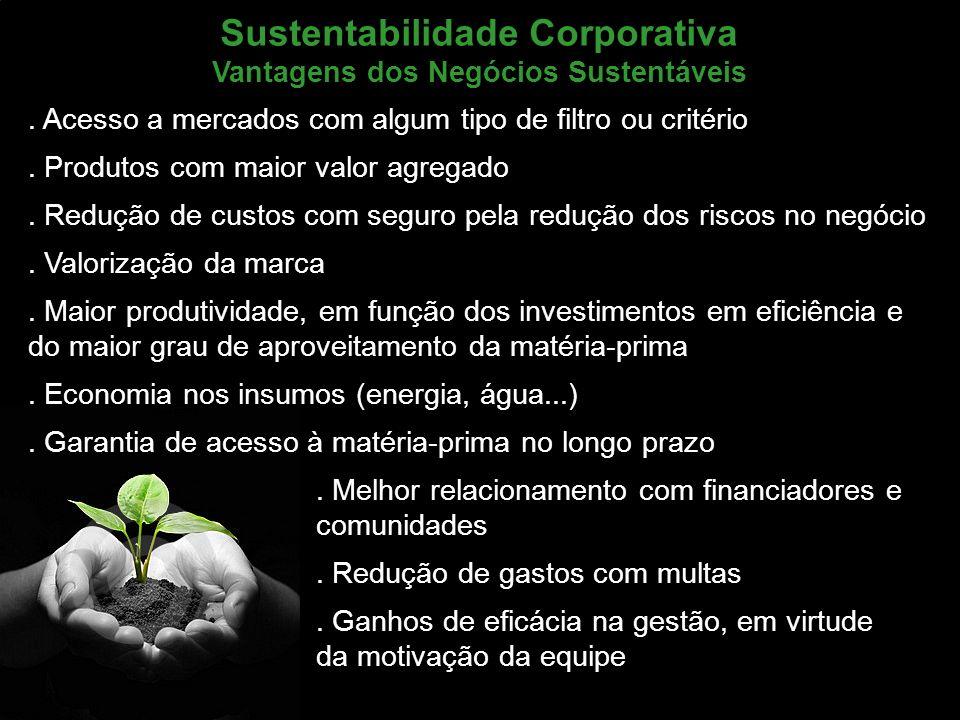Marketing de Serviços Profa. Camila Krohling Colnago Sustentabilidade Corporativa Vantagens dos Negócios Sustentáveis. Acesso a mercados com algum tip
