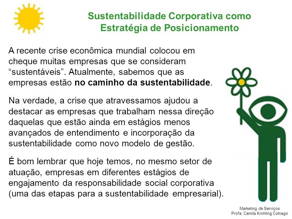 Marketing de Serviços Profa. Camila Krohling Colnago Sustentabilidade Corporativa como Estratégia de Posicionamento A recente crise econômica mundial