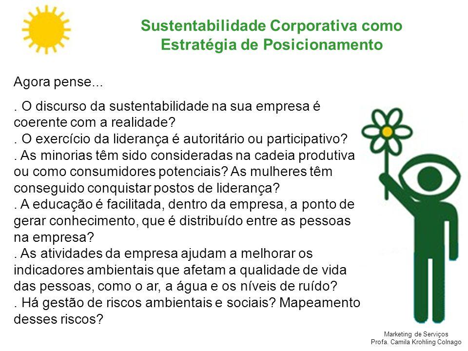 Marketing de Serviços Profa. Camila Krohling Colnago Sustentabilidade Corporativa como Estratégia de Posicionamento Agora pense.... O discurso da sust