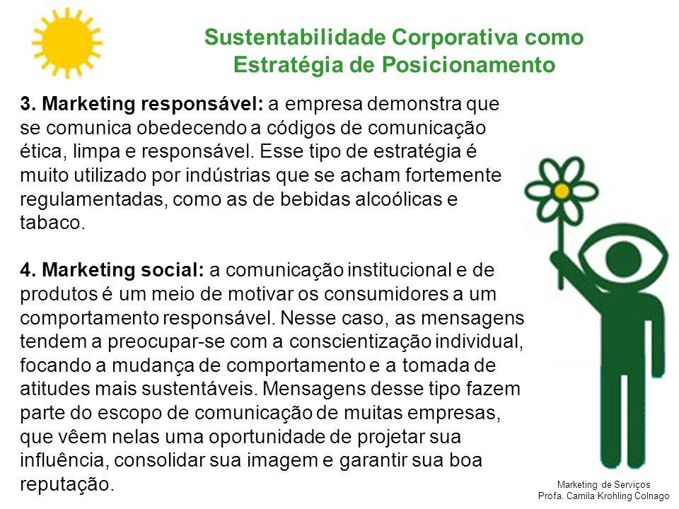 Marketing de Serviços Profa. Camila Krohling Colnago Sustentabilidade Corporativa como Estratégia de Posicionamento 3. Marketing responsável: a empres