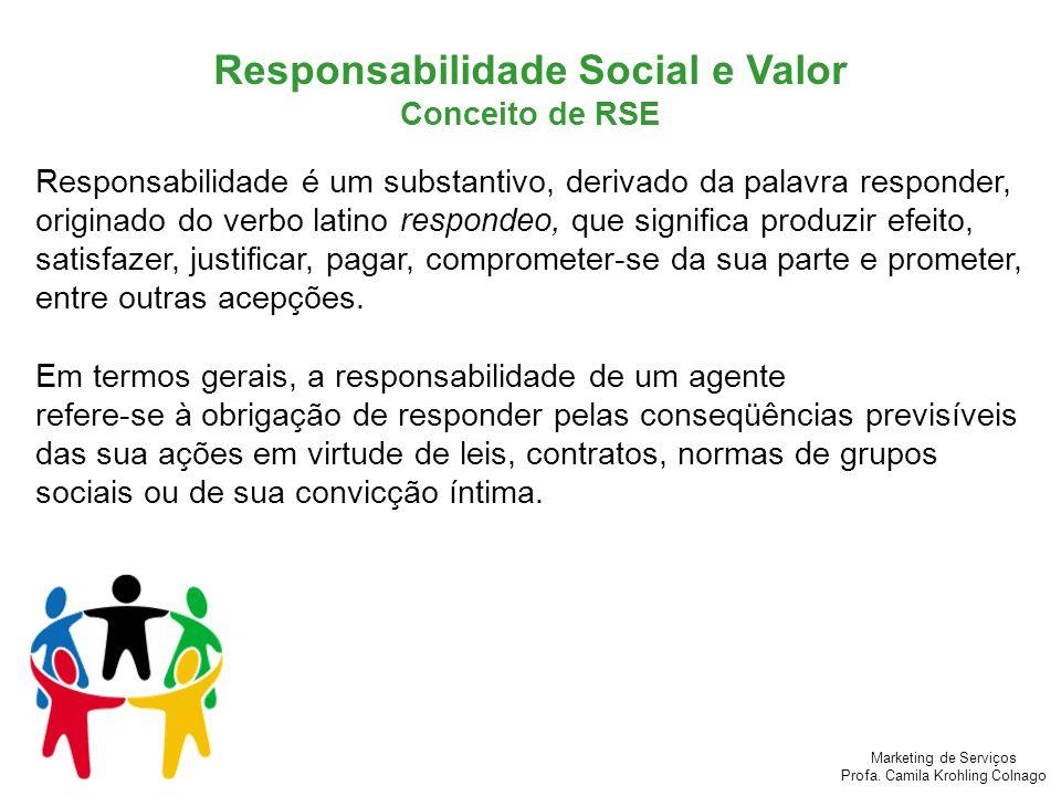Marketing de Serviços Profa. Camila Krohling Colnago Responsabilidade Social e Valor Conceito de RSE Responsabilidade é um substantivo, derivado da pa