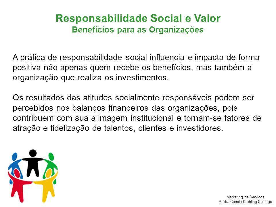 Marketing de Serviços Profa. Camila Krohling Colnago A prática de responsabilidade social influencia e impacta de forma positiva não apenas quem receb