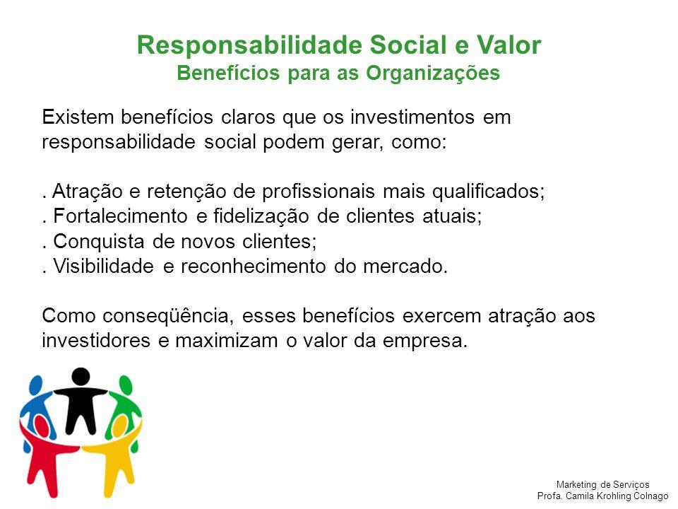 Marketing de Serviços Profa. Camila Krohling Colnago Existem benefícios claros que os investimentos em responsabilidade social podem gerar, como:. Atr