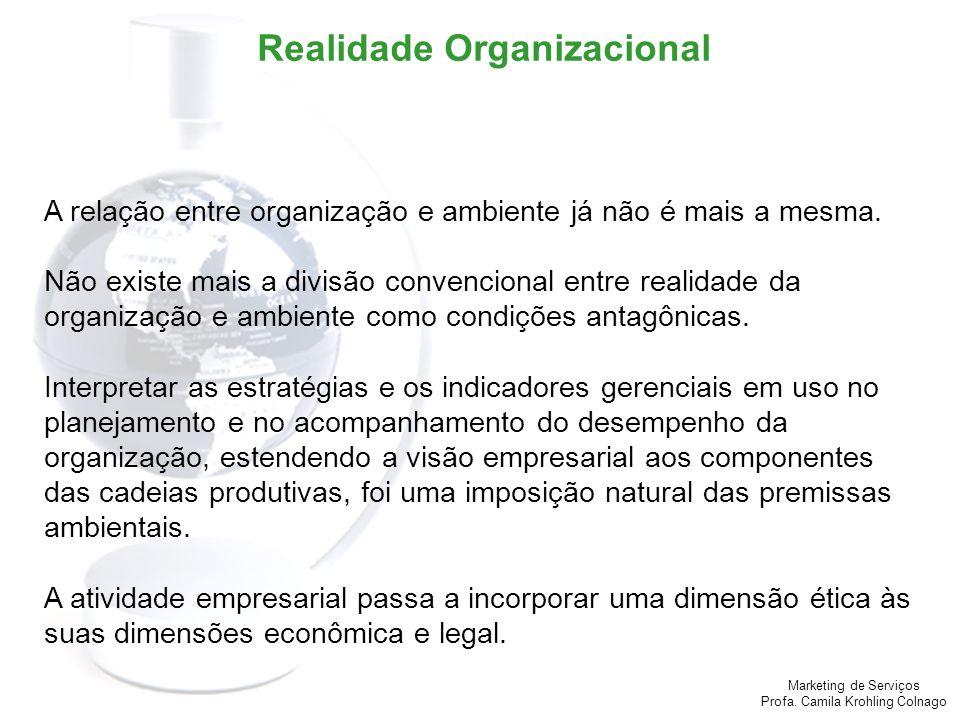 Marketing de Serviços Profa. Camila Krohling Colnago Realidade Organizacional A relação entre organização e ambiente já não é mais a mesma. Não existe