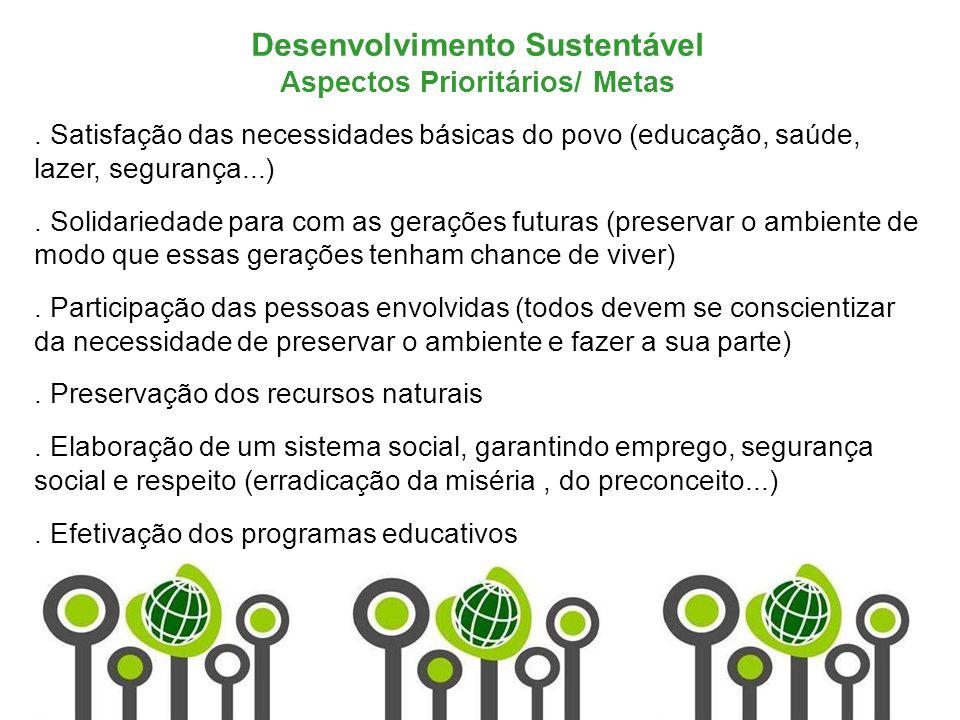 Marketing de Serviços Profa. Camila Krohling Colnago Desenvolvimento Sustentável Aspectos Prioritários/ Metas. Satisfação das necessidades básicas do