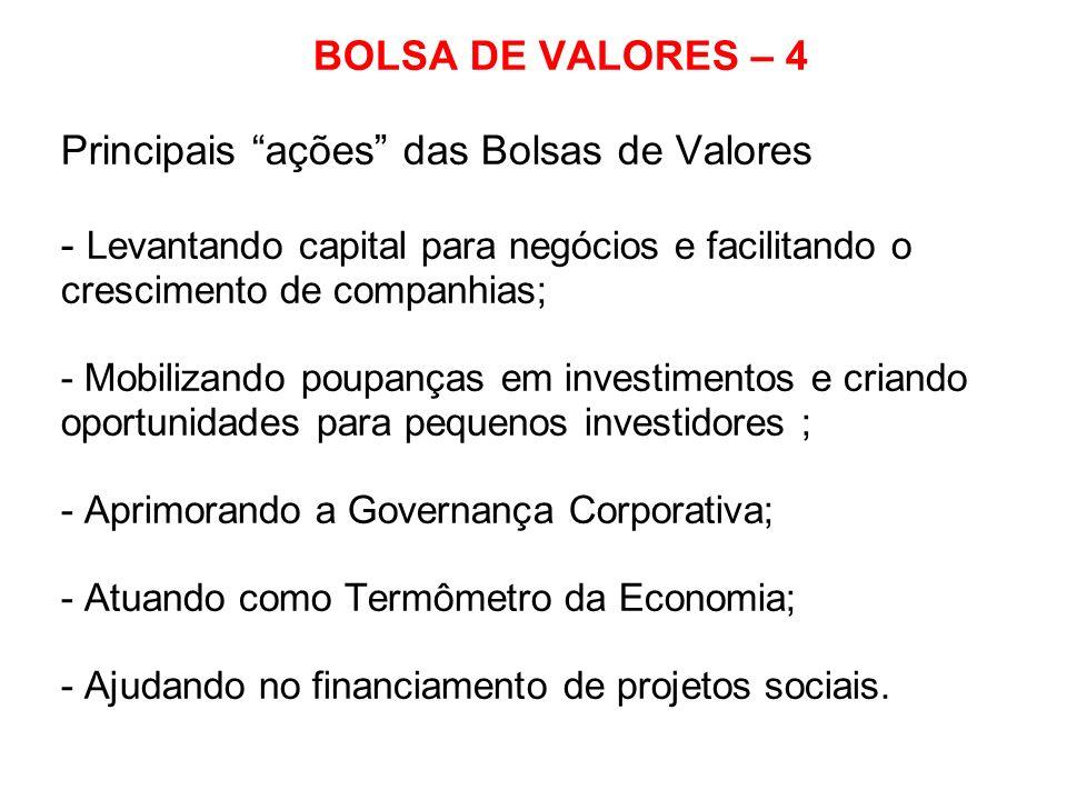 BOLSA DE VALORES – 4 Principais ações das Bolsas de Valores - Levantando capital para negócios e facilitando o crescimento de companhias; - Mobilizand