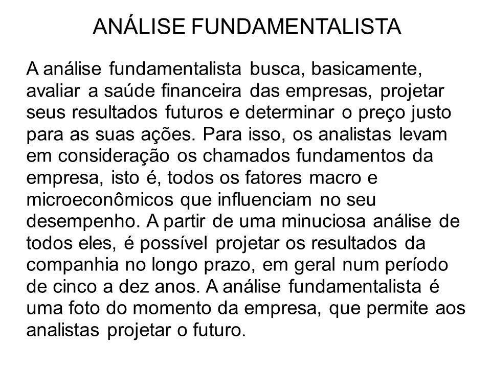 ANÁLISE FUNDAMENTALISTA A análise fundamentalista busca, basicamente, avaliar a saúde financeira das empresas, projetar seus resultados futuros e dete