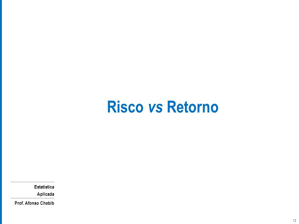 Estatística Aplicada Prof. Afonso Chebib 13 Risco vs Retorno