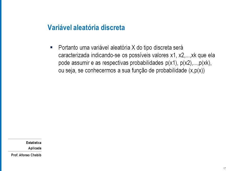 Estatística Aplicada Prof. Afonso Chebib Portanto uma variável aleatória X do tipo discreta será caracterizada indicando-se os possíveis valores x1, x