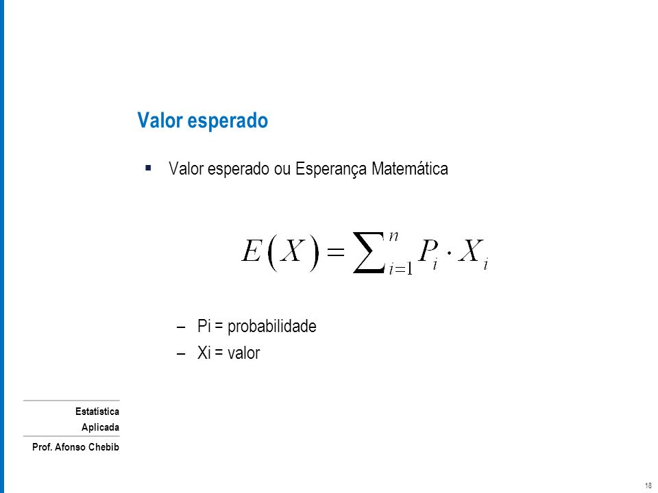 Estatística Aplicada Prof. Afonso Chebib Valor esperado 18 Valor esperado ou Esperança Matemática –Pi = probabilidade –Xi = valor