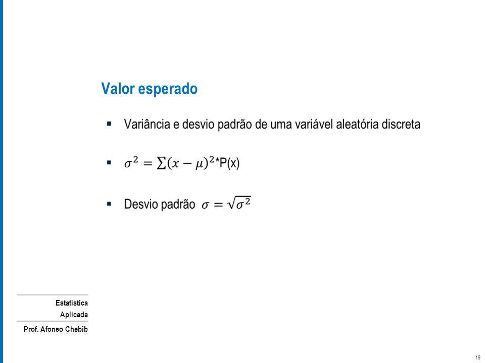 Estatística Aplicada Prof. Afonso Chebib Valor esperado 19