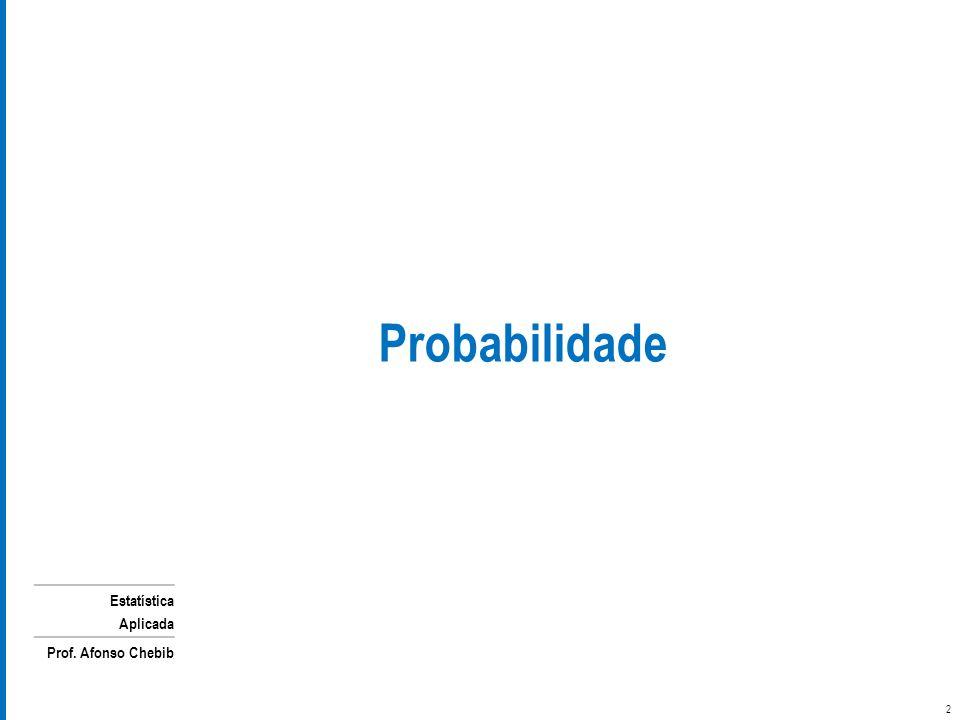 Estatística Aplicada Prof. Afonso Chebib 2 Probabilidade