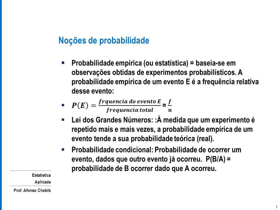 Estatística Aplicada Prof. Afonso Chebib Noções de probabilidade 5