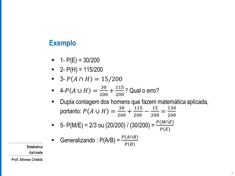 Estatística Aplicada Prof. Afonso Chebib Exemplo 7