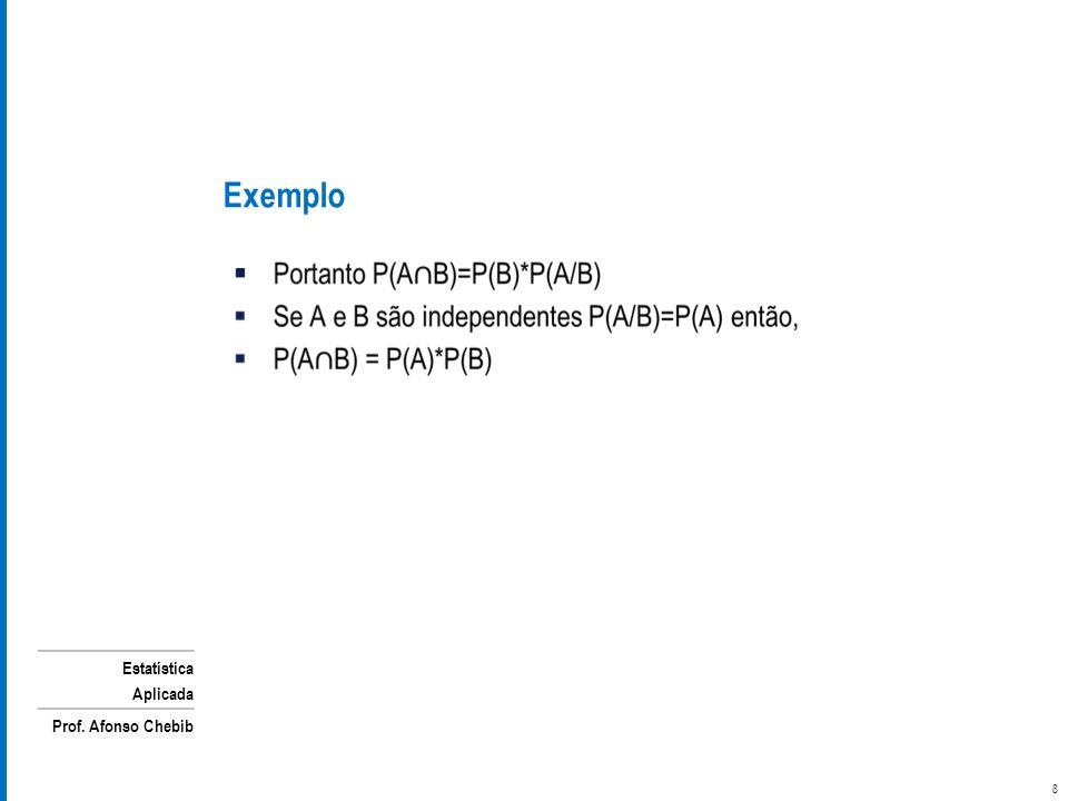 Estatística Aplicada Prof. Afonso Chebib Exemplo 8