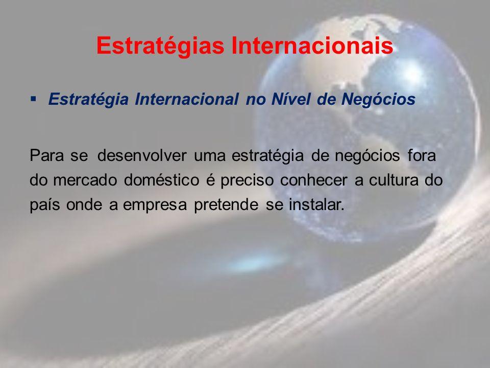Estratégias Internacionais Estratégia Internacional no Nível de Negócios Para se desenvolver uma estratégia de negócios fora do mercado doméstico é preciso conhecer a cultura do país onde a empresa pretende se instalar.