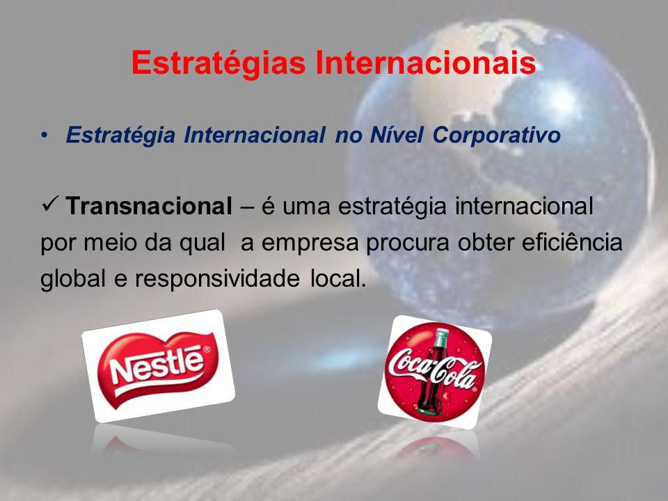 Estratégias Internacionais Estratégia Internacional no Nível Corporativo Transnacional – é uma estratégia internacional por meio da qual a empresa procura obter eficiência global e responsividade local.