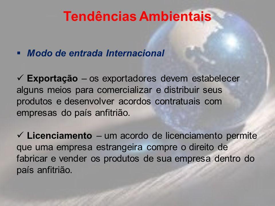 Tendências Ambientais Modo de entrada Internacional Exportação – os exportadores devem estabelecer alguns meios para comercializar e distribuir seus produtos e desenvolver acordos contratuais com empresas do país anfitrião.