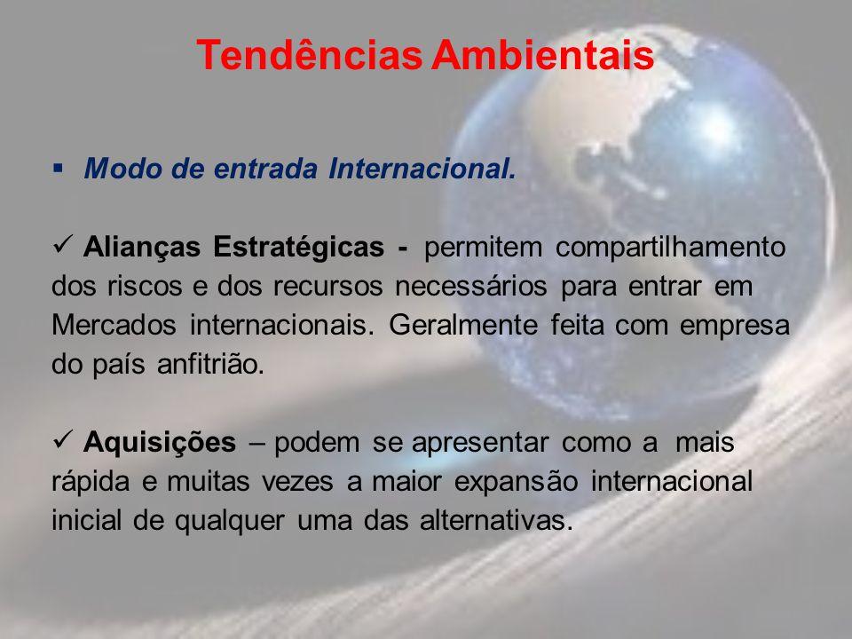 Tendências Ambientais Modo de entrada Internacional. Alianças Estratégicas - permitem compartilhamento dos riscos e dos recursos necessários para entr