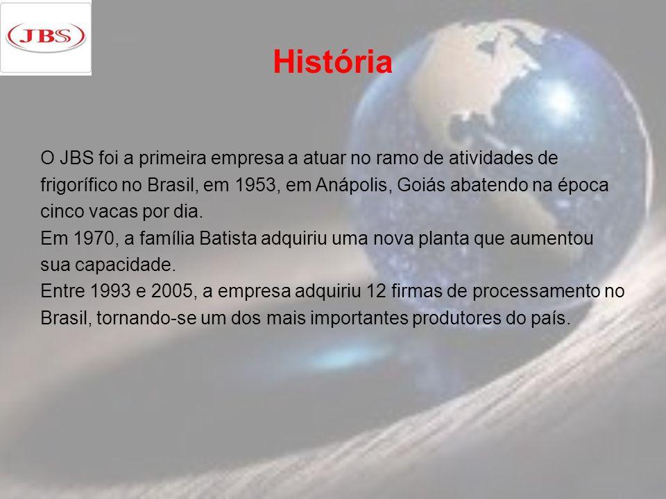 História O JBS foi a primeira empresa a atuar no ramo de atividades de frigorífico no Brasil, em 1953, em Anápolis, Goiás abatendo na época cinco vacas por dia.