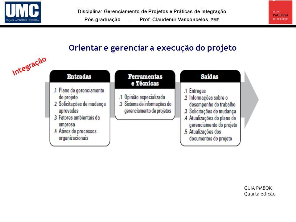 Disciplina: Gerenciamento de Projetos e Práticas de Integração Pós-graduação - Prof. Claudemir Vasconcelos, PMP Orientar e gerenciar a execução do pro