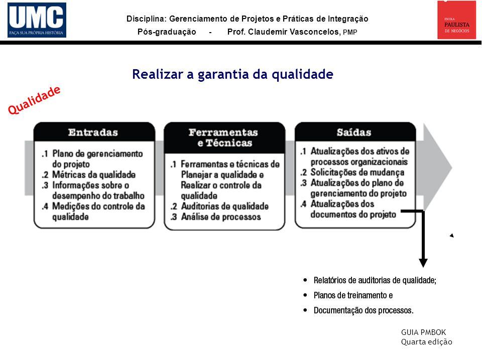 Disciplina: Gerenciamento de Projetos e Práticas de Integração Pós-graduação - Prof. Claudemir Vasconcelos, PMP Realizar a garantia da qualidade GUIA