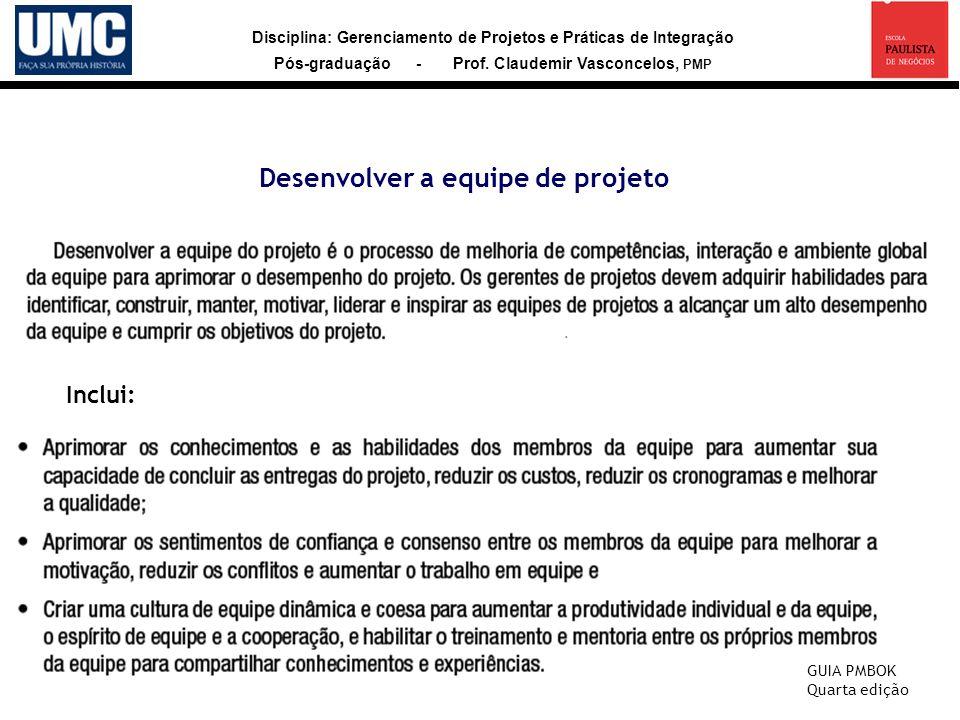 Disciplina: Gerenciamento de Projetos e Práticas de Integração Pós-graduação - Prof. Claudemir Vasconcelos, PMP Desenvolver a equipe de projeto Inclui