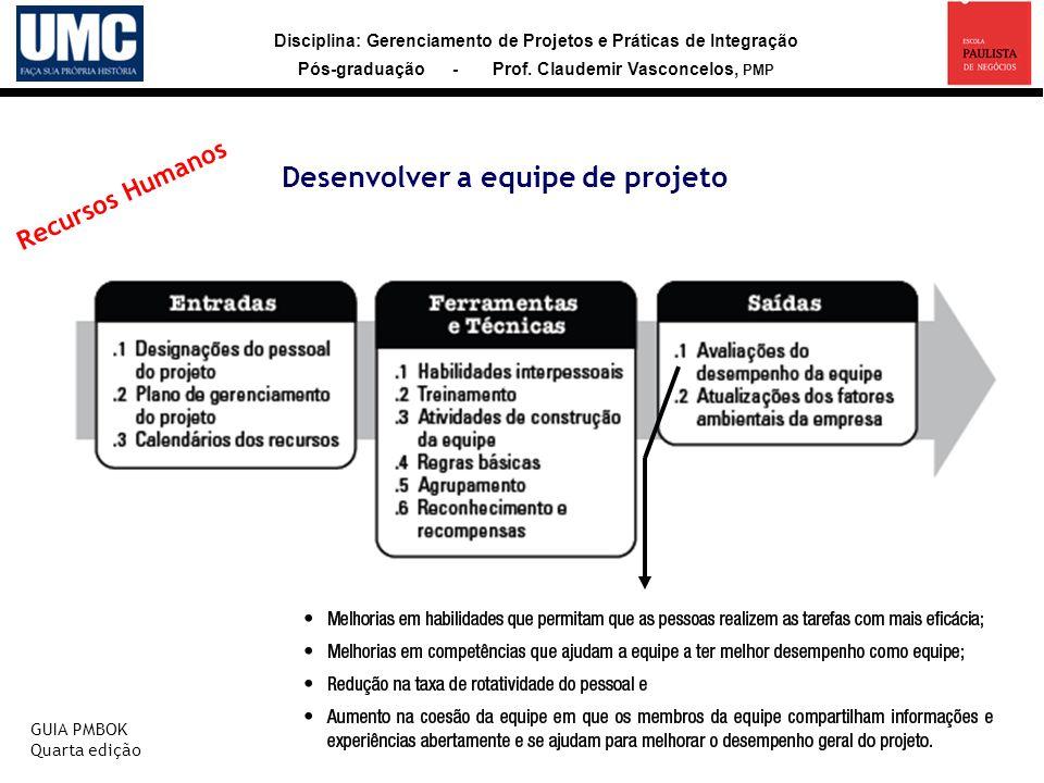 Disciplina: Gerenciamento de Projetos e Práticas de Integração Pós-graduação - Prof. Claudemir Vasconcelos, PMP Desenvolver a equipe de projeto GUIA P
