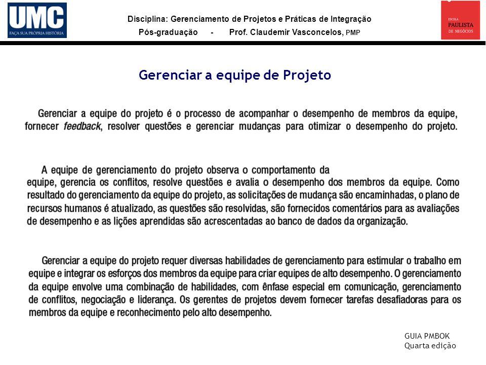 Disciplina: Gerenciamento de Projetos e Práticas de Integração Pós-graduação - Prof. Claudemir Vasconcelos, PMP Gerenciar a equipe de Projeto GUIA PMB
