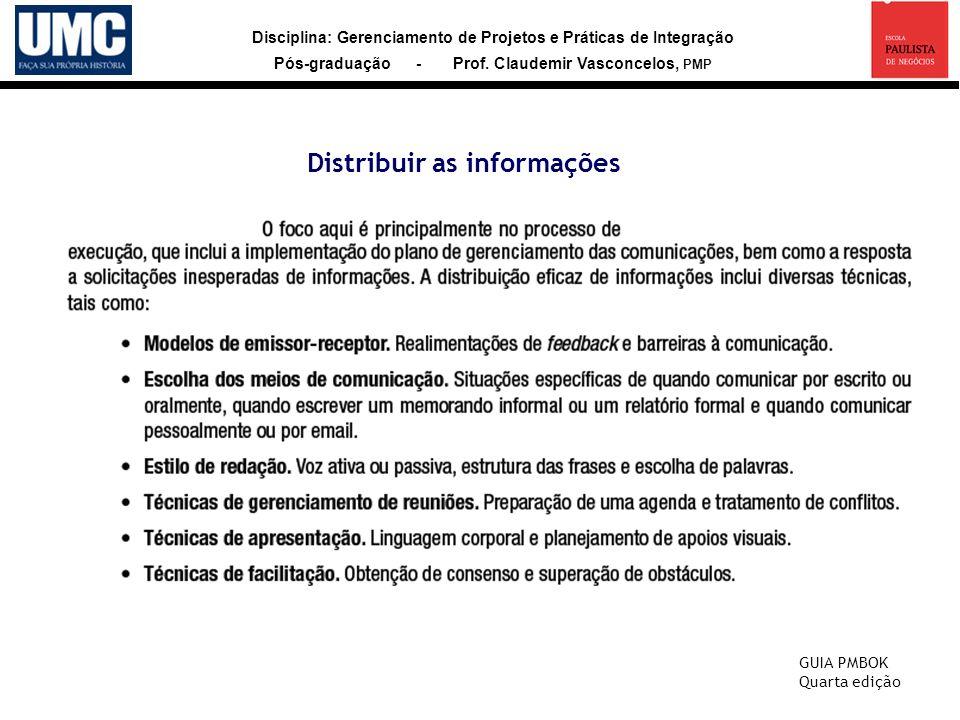 Disciplina: Gerenciamento de Projetos e Práticas de Integração Pós-graduação - Prof. Claudemir Vasconcelos, PMP Distribuir as informações GUIA PMBOK Q
