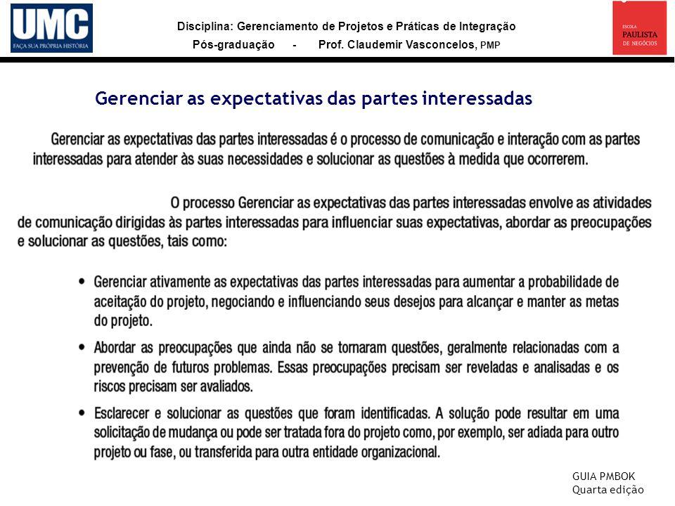 Disciplina: Gerenciamento de Projetos e Práticas de Integração Pós-graduação - Prof. Claudemir Vasconcelos, PMP Gerenciar as expectativas das partes i