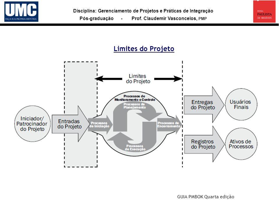 Disciplina: Gerenciamento de Projetos e Práticas de Integração Pós-graduação - Prof. Claudemir Vasconcelos, PMP Limites do Projeto GUIA PMBOK Quarta e