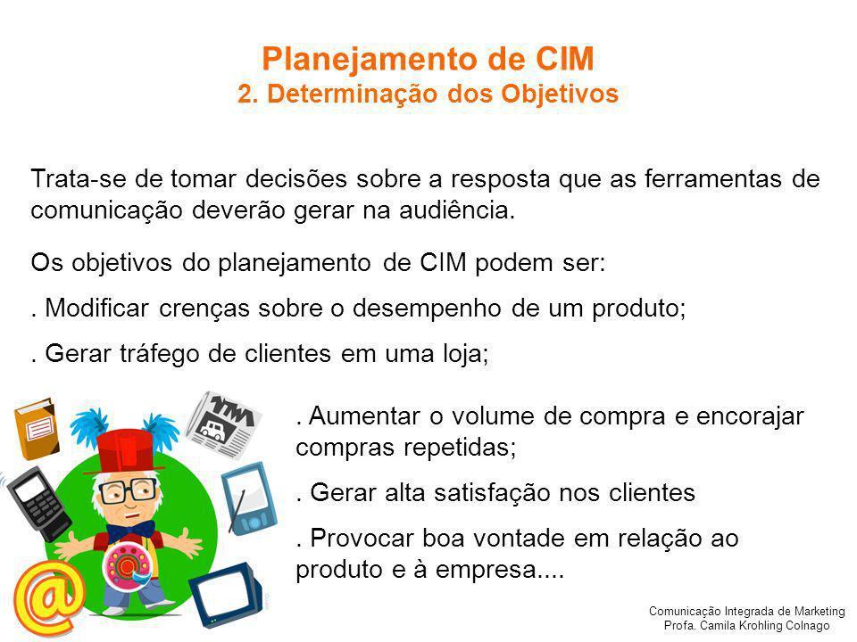 Comunicação Integrada de Marketing Profa.Camila Krohling Colnago Planejamento de CIM 2.