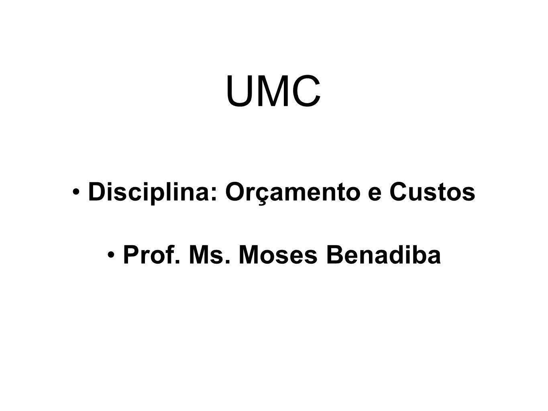 Disciplina: Orçamento e Custos Prof. Ms. Moses Benadiba UMC