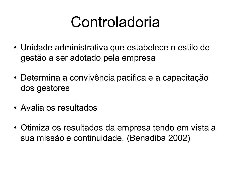 Controladoria Unidade administrativa que estabelece o estilo de gestão a ser adotado pela empresa Determina a convivência pacifica e a capacitação dos