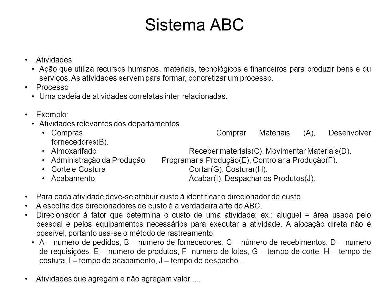 Sistema ABC Atividades Ação que utiliza recursos humanos, materiais, tecnológicos e financeiros para produzir bens e ou serviços. As atividades servem