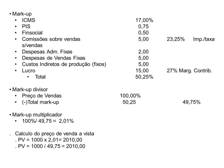 Mark-up ICMS17,00% PIS 0,75 Finsocial 0,50 Comissões sobre vendas 5,0023,25% Imp./taxa s/vendas Despesas Adm. Fixas 2,00 Despesas de Vendas Fixas 5,00